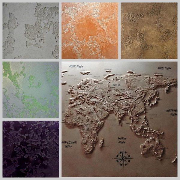 Enduit décoratif pour une carte du monde