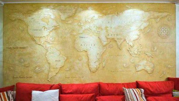 Carte du monde en stuc mat
